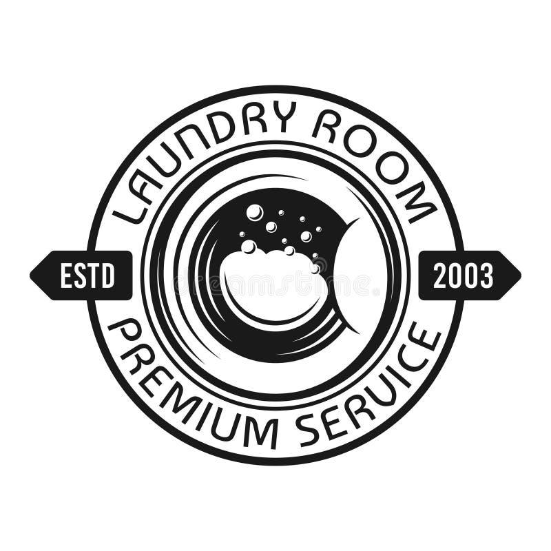 Laundry vector emblem with washing machine drum. Laundry room and service vector emblem, label, badge or logo with washing machine drum in vintage monochrome vector illustration