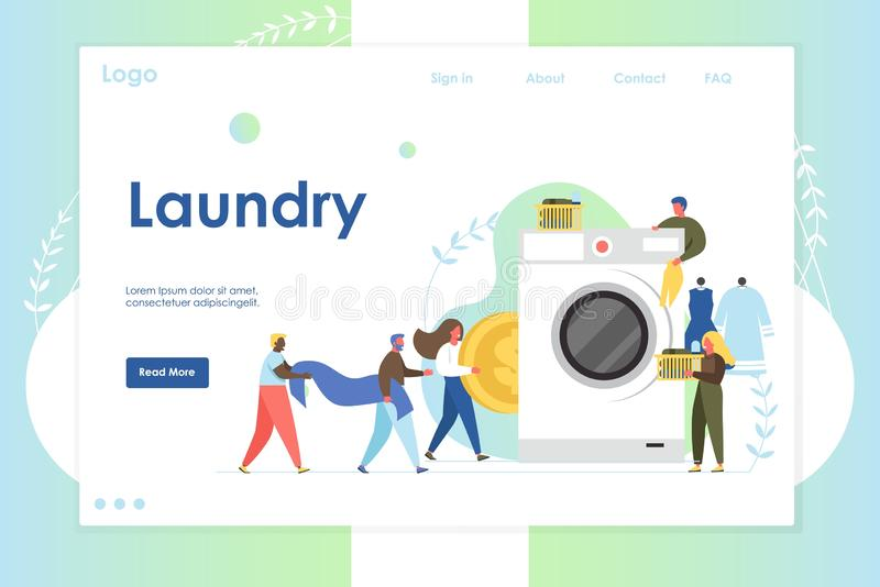 Laundry vector website landing page design template. Laundry vector website template, web page and landing page design for website and mobile site development stock illustration
