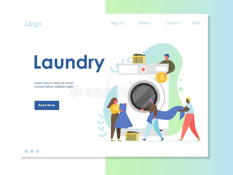 Laundry vector website landing page design template. Laundry vector website template, web page and landing page design for website and mobile site development royalty free illustration