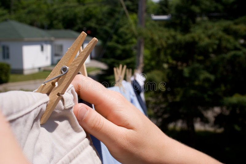 Download Laundry washing line stock image. Image of hands, line - 175323