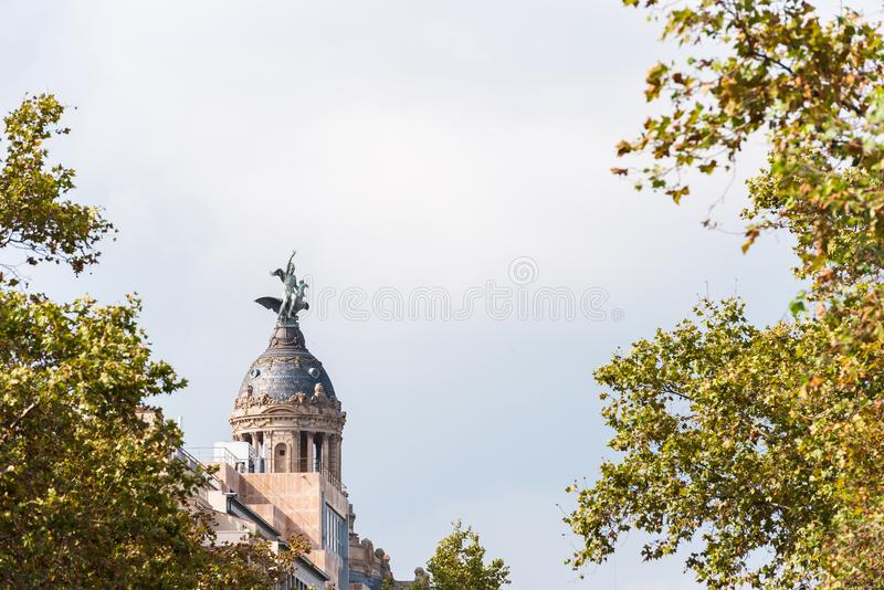 Launion y el Fenix Barcelona - Passeig de Gracia - Barcelones arkivfoto