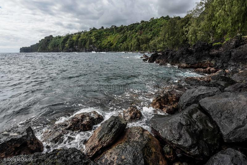 Laupahoehoe punkt, Duża wyspa, Hawaje zdjęcie royalty free