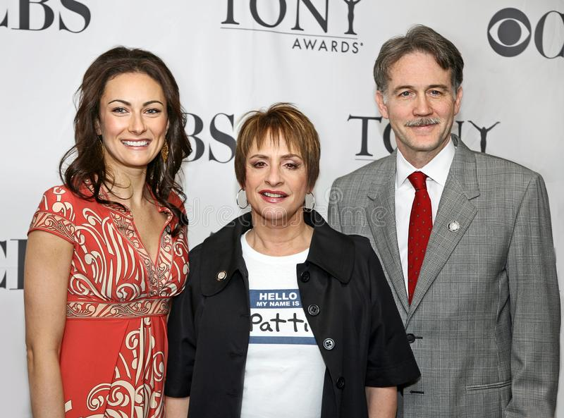 Laura Benanti, Patti LuPone, and Boyd Gaines. Actors Laura Benanti, Patti LuPone and Boyd Gaines appear at the 62nd Annual Tony Awards Meet the Nominees Press stock images