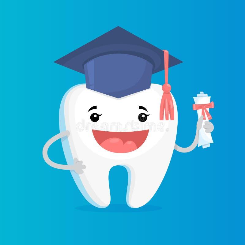Laureato brillante bianco felice del dente Idea di dentario illustrazione di stock