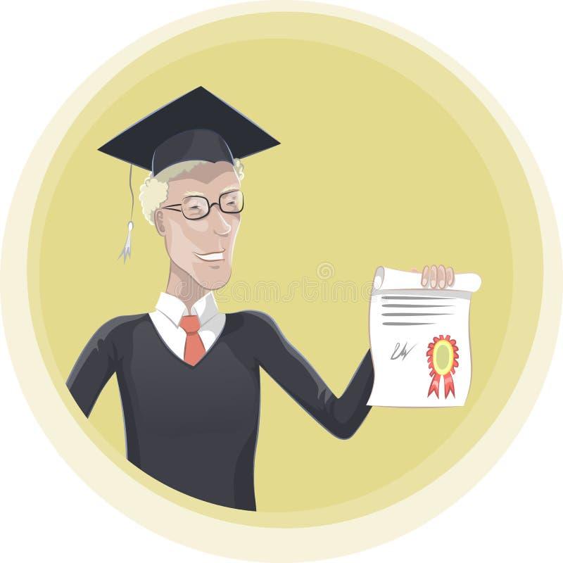 Laureato con l'illustrazione di vettore del diploma illustrazione di stock