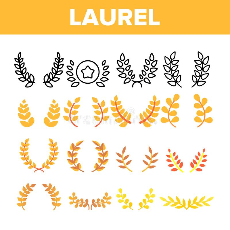Laurel Branches Wreath Vector Color symbolsuppsättning vektor illustrationer