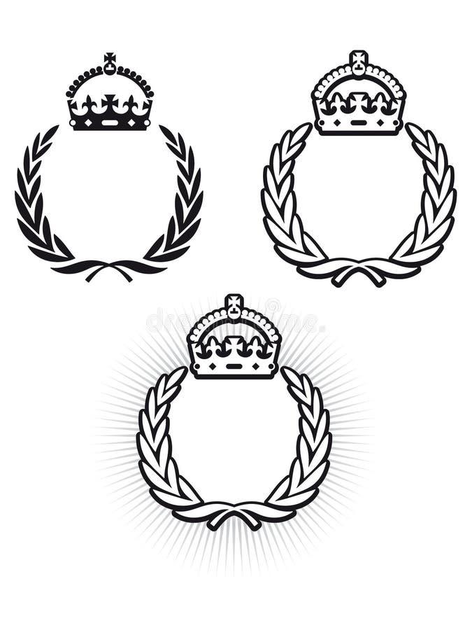 Laurel Crown. Laurel wreath symbol with crown