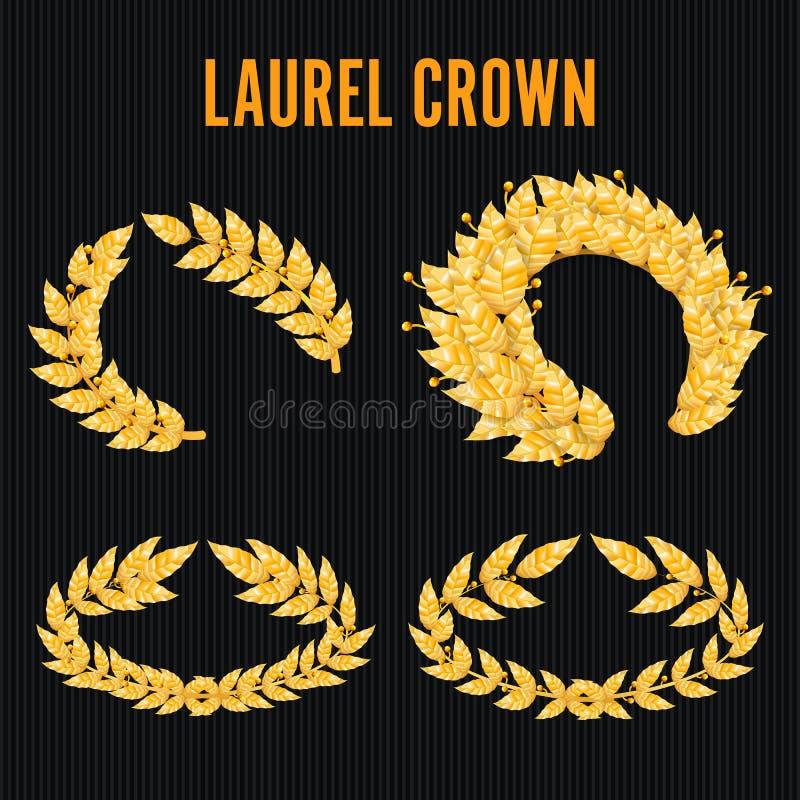Laurel Crown Set Guirnalda griega con las hojas de oro Ilustración del vector stock de ilustración