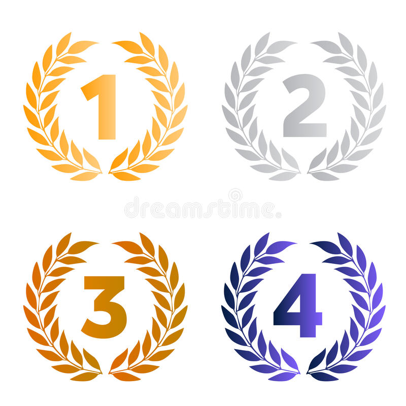 Laurel crowns as prizes. Vector illustrations of gold, silver and bronze awards to the best performers of a contest with laurel crowns