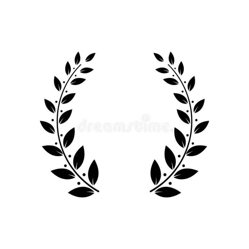 Laurel griego o vector verde oliva del marco de la guirnalda o de la hoja del premio del ganador aislado en blanco stock de ilustración