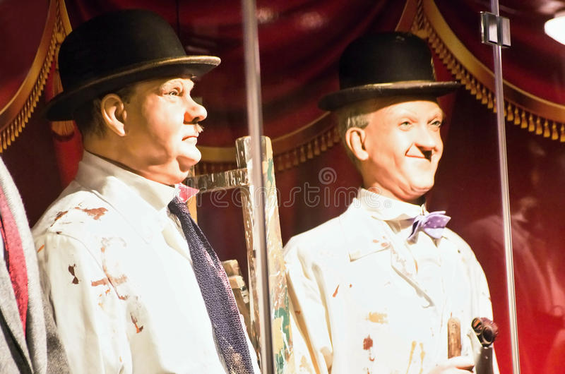 Laurel and Hardy. Sculptures in wax. The team was composed of thin Englishman, Stan Laurel (1890–1965) and heavyset American, Oliver Hardy (1892– stock image