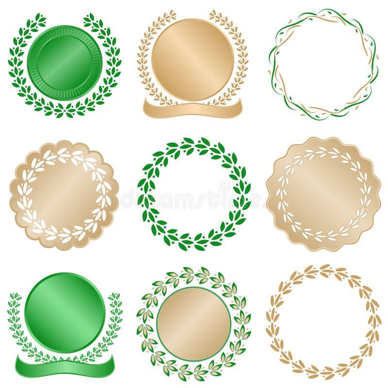 Laurel Leaves Gold Seals royalty free illustration