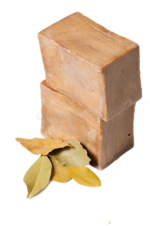 Laurel soaps with leaves, isolated royalty free stock photography
