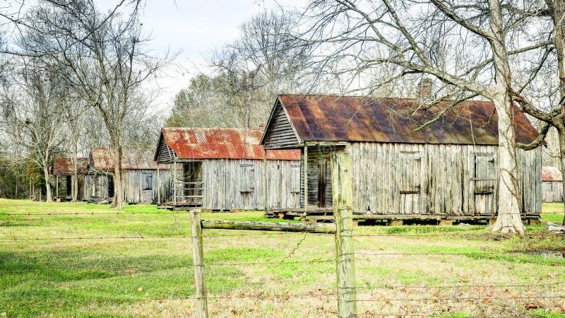 Laurel Valley Plantation. Old slave cabins at Laurel Valley Plantation near Thibodaux in Lafourche Parish, Louisiana royalty free stock images