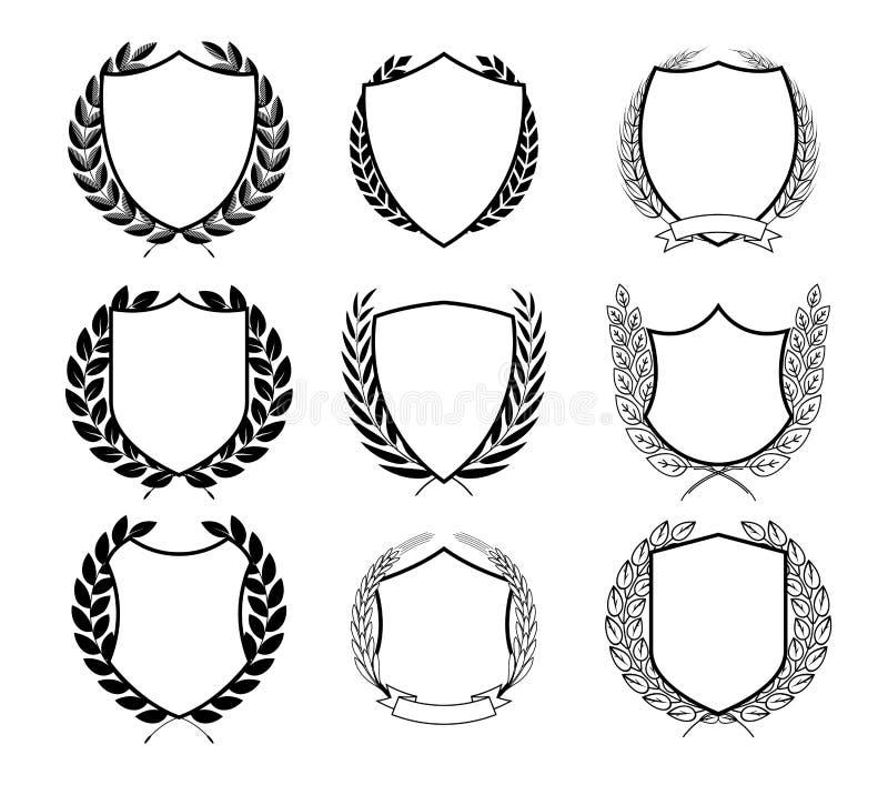 Laurel Wreath Badges Vector Malplaatje voor Toekenning, Kwaliteitsteken, Diploma's en Certificaten stock illustratie