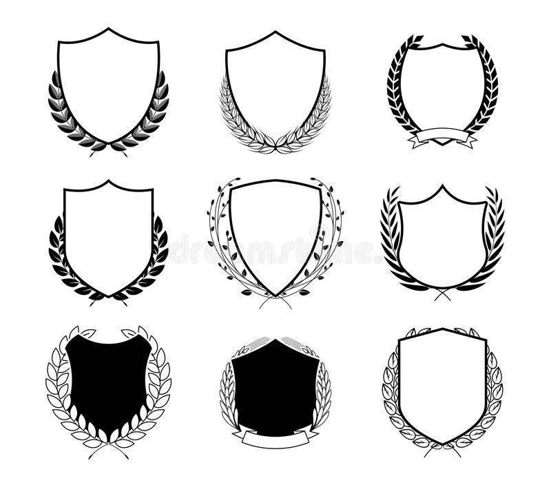 Laurel Wreath Badges Vector Schablone für Preise, Gütezeichen, Diplome und Zertifikate lizenzfreie abbildung