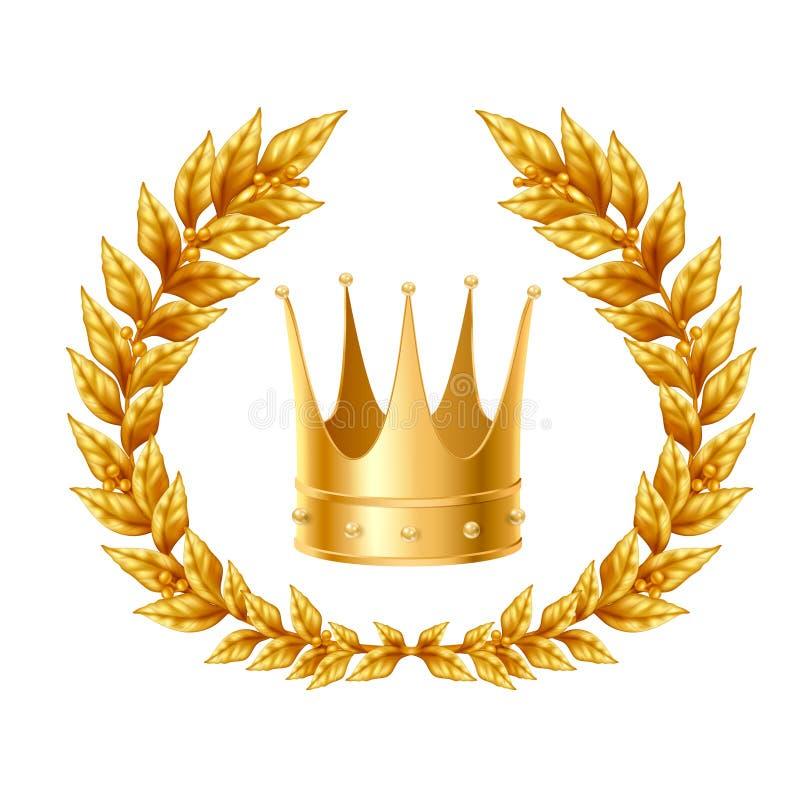 Laurel Wreath And Crown de oro stock de ilustración