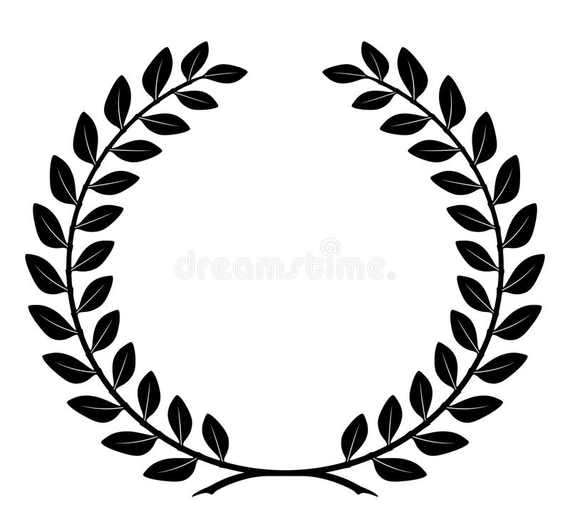 Laurel wreath with detailed branches, vector stock illustration