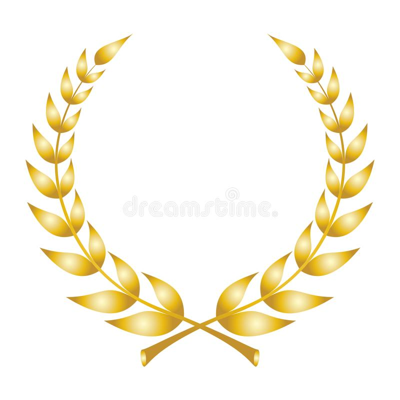 Laurel wreath icon. Emblem made of laurel branches stock illustration