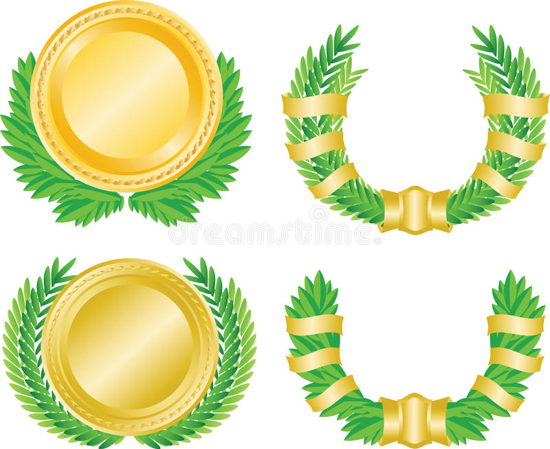 Download Laurel wreath and medal stock vector. Illustration of decoration - 18375702