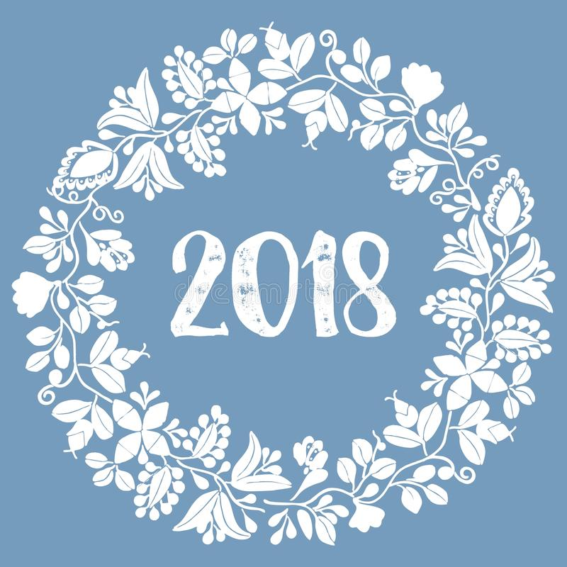 Laurel wreath New Year 2018 white vector frame isolated on blue background stock illustration