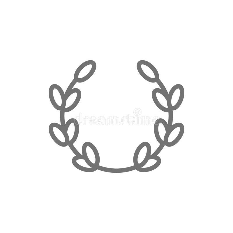 Laurel wreath, olive branch, victory line icon. stock illustration