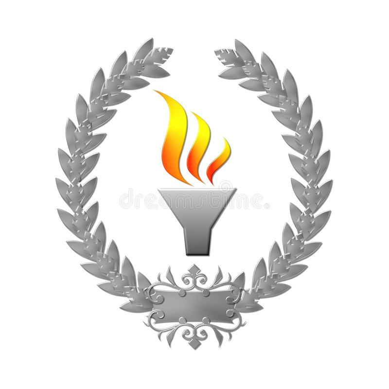 Laurel Wreath Olympic Flame Royalty Free Stock Photography