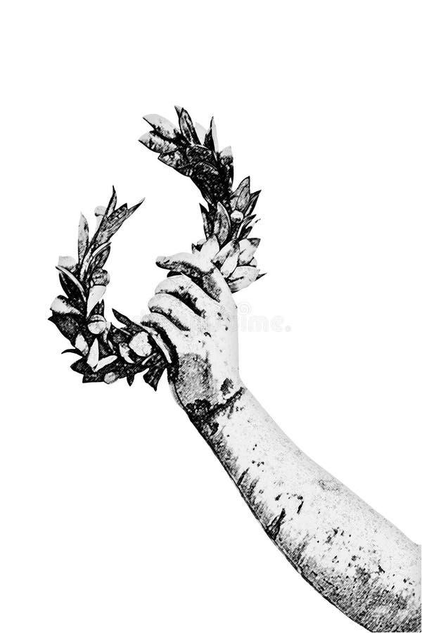 Laurel Wreath tenuto in mano da una statua bronzea sul fondo del cielo - immagine tonificata arte con effetto di pennellate fotografia stock libera da diritti