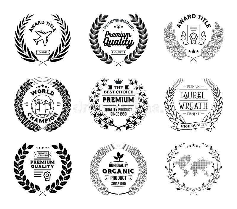 Laurel Wreath Vector Basic Black samling royaltyfri illustrationer