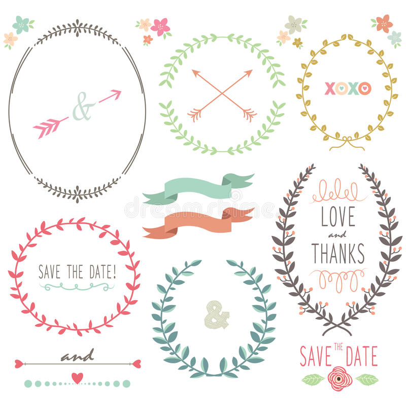 Laurel Wreath Wedding illustrazione vettoriale