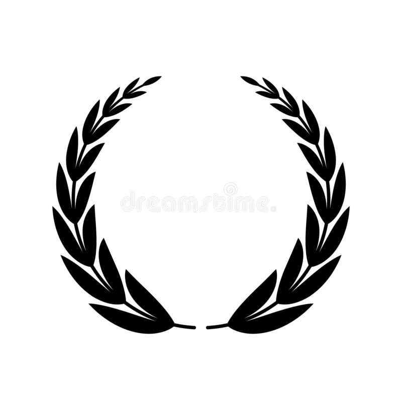 Laurel wreath of the winner or champion. black silhouette of a laurel wreath. stock illustration