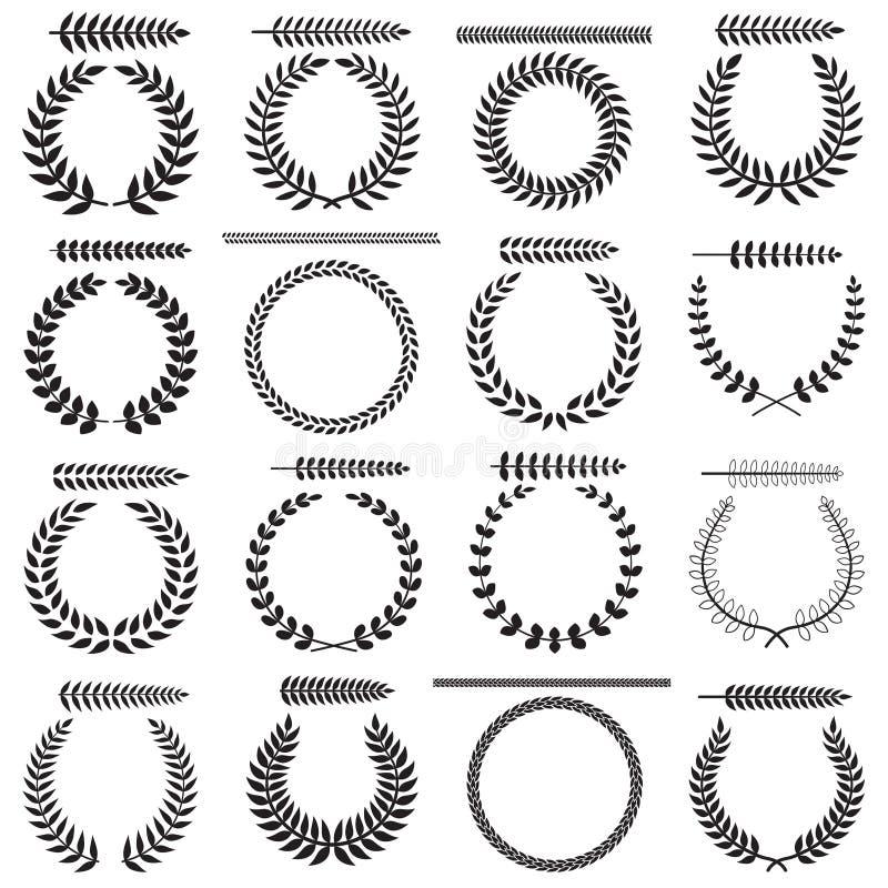 Laurel Wreaths Collection royaltyfri illustrationer