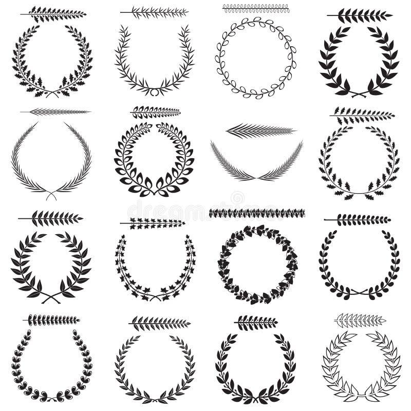 Laurel wreaths collection vector illustration