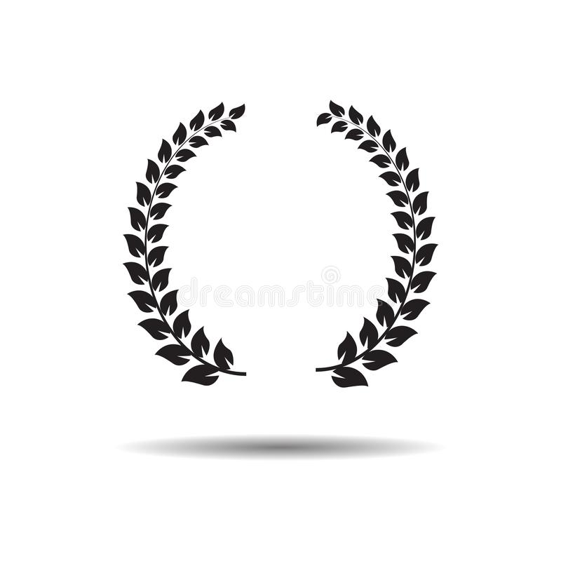 Laurel Wreaths Icône plate de Web de vecteur ou se connecter le fond blanc avec l'ombre illustration stock