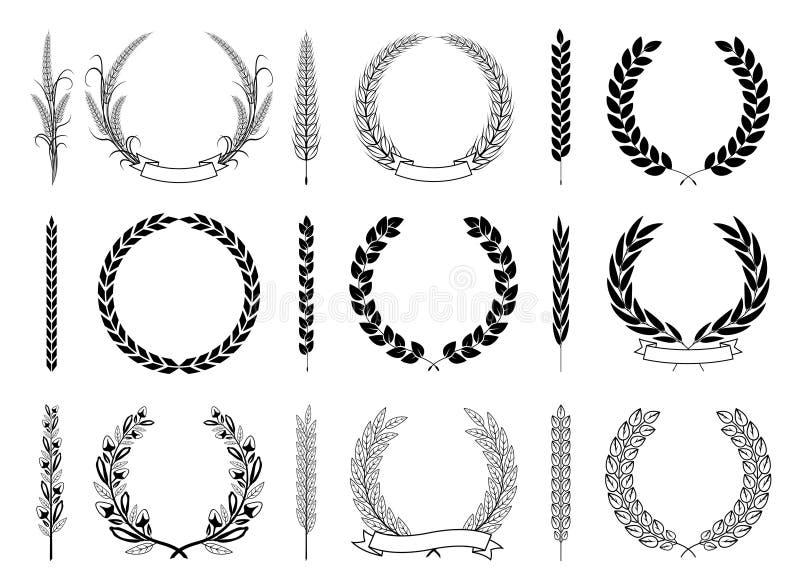 Laurel Wreaths och filialvektorsamling vektor illustrationer