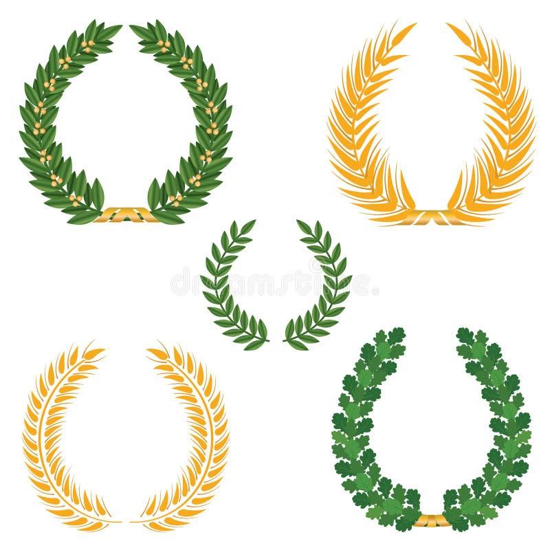Laurel Wreaths Set illustrazione vettoriale