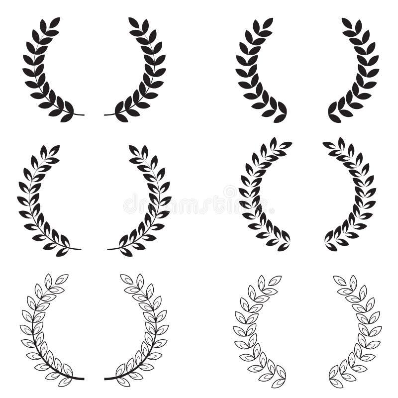 Laurel Wreaths Set op Witte Achtergrond Inzameling van zwart-witte cirkellauwerkransen voor uw websiteontwerp, embleem, app stock illustratie