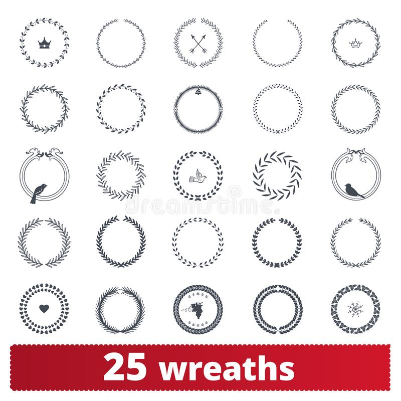 Laurel Wreaths Vector Clipart Collection aisló en el fondo blanco libre illustration