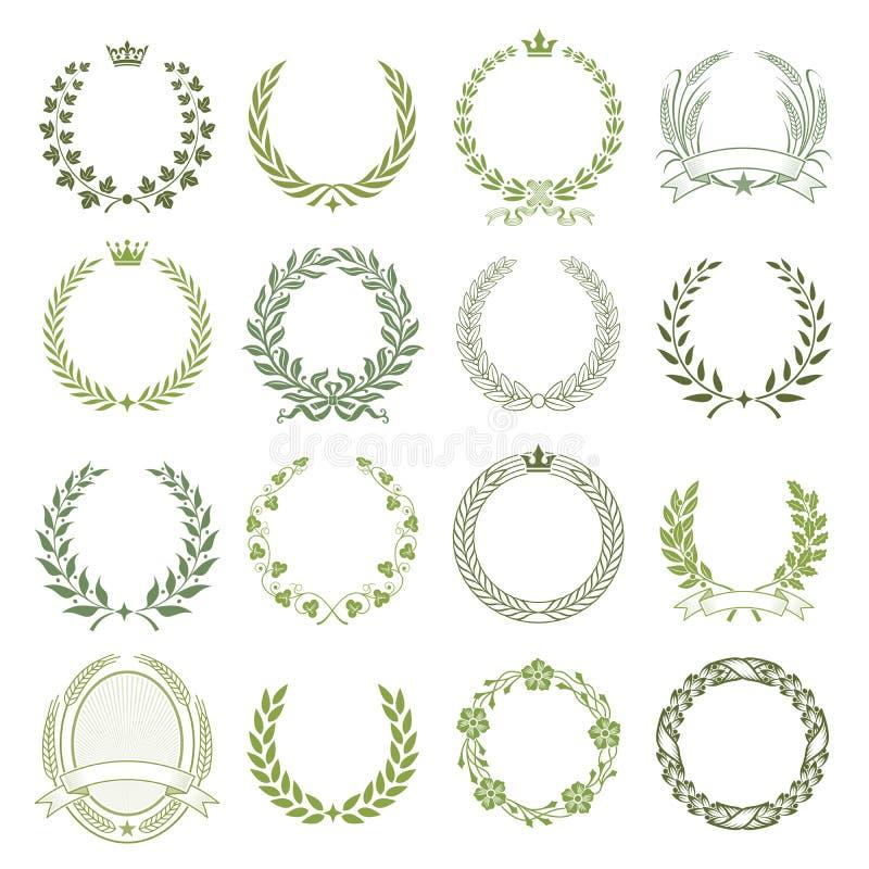 Laurel Wreaths Vector Collection royaltyfri illustrationer