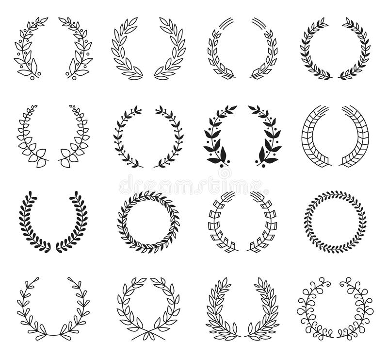 Laurel Wreaths Vector Collection stock de ilustración