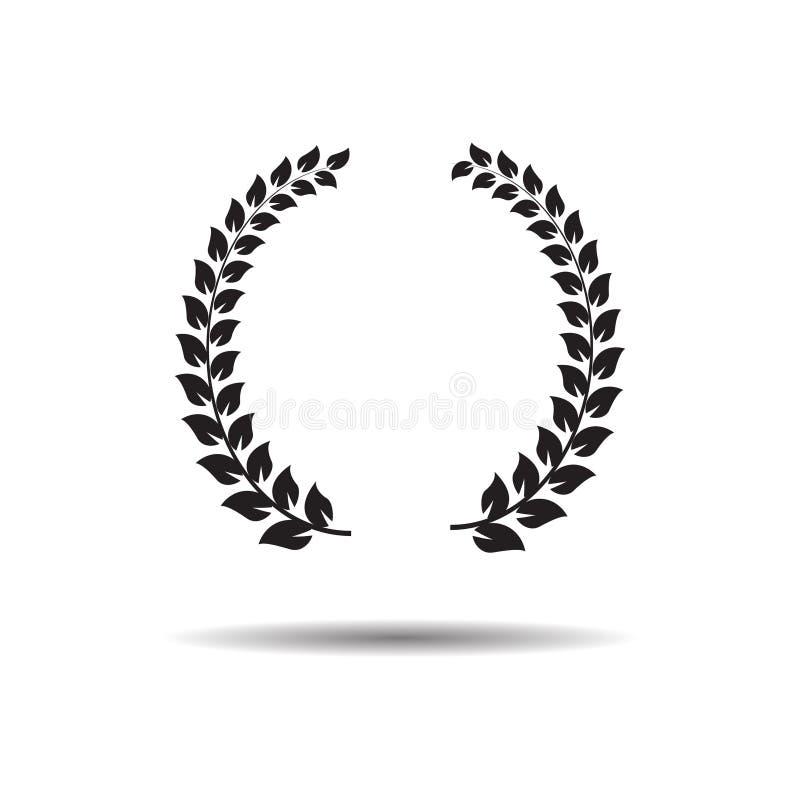 Laurel Wreaths Vlak vectorwebpictogram of teken op witte achtergrond met schaduw stock illustratie