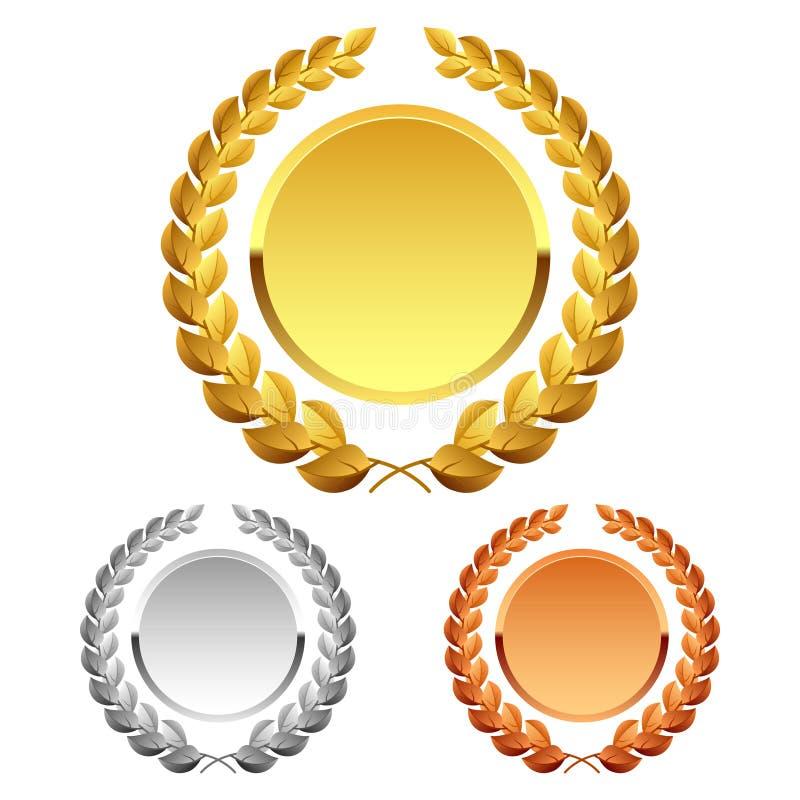 Laurel wreaths for winners stock illustration