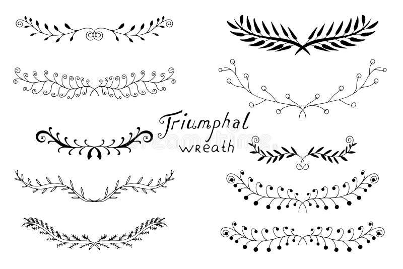 Laureles dibujados mano ilustración del vector