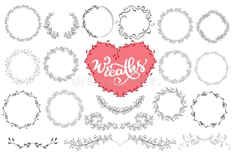Laurels en de kronen overhandigen getrokken vectorillustratie Ontwerpelementen voor uitnodigingen, groetkaarten, citaten, bloggen stock illustratie