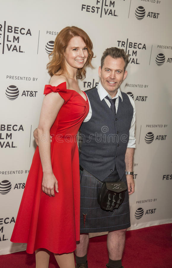 Lauren Dixon and producer Neil Mandt. Arrive on the red carpet for the premiere of `Dog Years` at the 2017 Tribeca Film Festival, at the Cinepolis Chelsea on royalty free stock photo