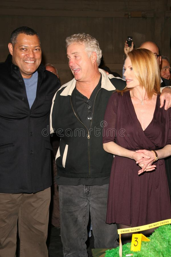 Laurence Fishburne, Marg Helgenberger, William Petersen arkivbild