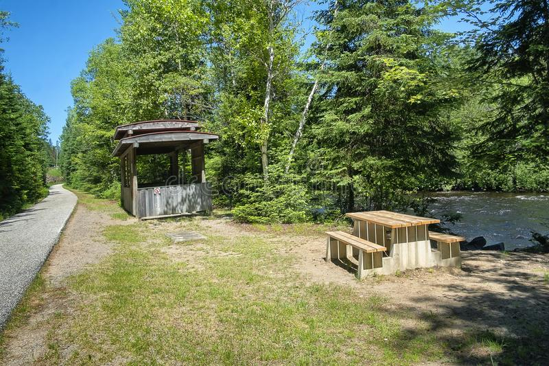 """""""Le P'tit Train du Nord"""" linear park. THE LAURENTIANS, A REGION TO DISCOVER! Among the many activities available, you can tour along """"Le royalty free stock photos"""