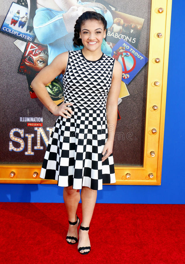 Laurie Hernandez. At the Los Angeles premiere of `Sing` held at the Microsoft Theater in Los Angeles, USA on December 3, 2016 stock photo