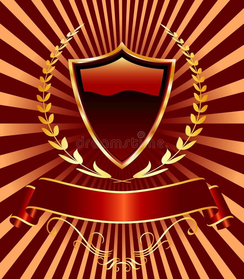 laurowa czerwona osłona ilustracja wektor