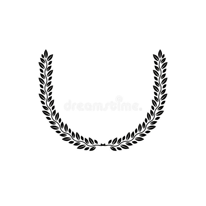 Laurowego wianku kwiecisty antyczny emblemat tworzący w podkowa kształcie ilustracji